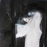 Painting of a snow ghost (Yuki Onna) for production of Kwaidan