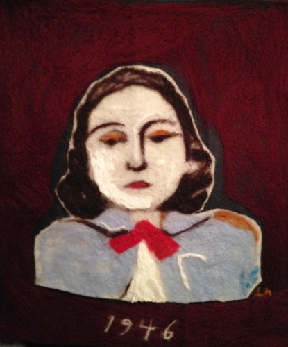 felted wool painting of a woman by Laurel Hausler
