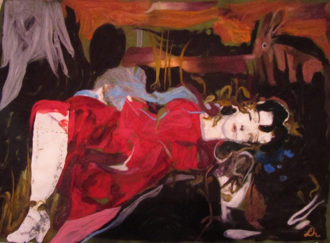 felted wool painting of a murdered woman in red dress