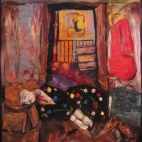 felted wool painting of a murdered woman