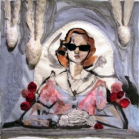 painting of violence against women (felted wool painting)