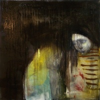 Painting of a mysterious conversation between girls at night by Laurel Hausler