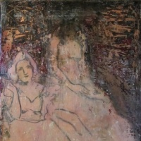 Painting of two debutantes in pink dresses by Laurel Hausler