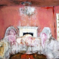 Painting of a great room, draped in sheets by Laurel Hausler