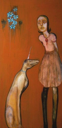 Painting of a unicorn dog with a girl by Laurel Hausler