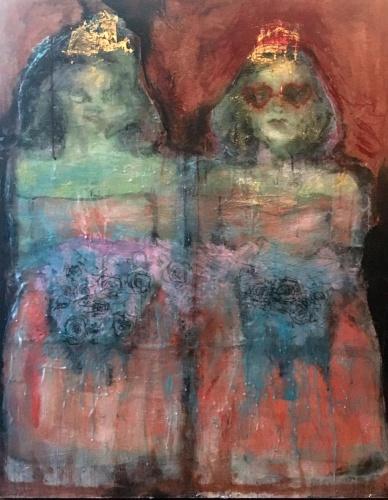 painting of two bad debutantes by Laurel Hausler