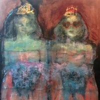 painting of two bad debutantes by Laurel Hausler