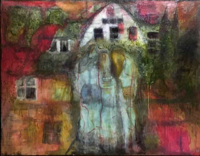 painting of houses with windows by Laurel Hausler