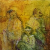 painting of three seated figures by Laurel Haulser