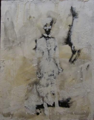 encaustic painting of a nurse