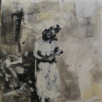 encaustic painting of a nurse