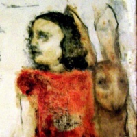 cult painting of girl with rabbit